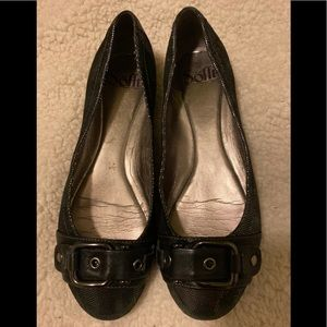 Sofft silver black buckle flats